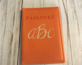 Monogrammed Orange Passport Holder, Orange Passport cover
