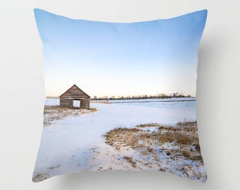 Rustic Photography Pillow, Winter Throw Pillow Covers 20x20, Sunrise Photography, Farmhouse Decor Rustic Country Pillows, Farm House Pillows