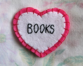BOOKS Felt Heart Patch