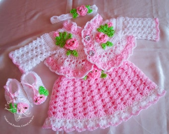 Pink Baby Dress, Pink Crochet Baby Dress Set, Pink Baby Girl Dress, Pink Baby Girl Outfits, Crochet Baby Outfits, Coming Home Baby Outfit,