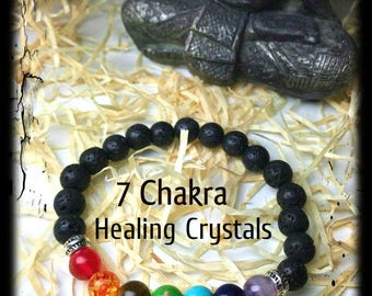 Volcanic stone bracelet, 7 chakra bracelet, chakra jewelry, meditation bracelet, yoga bracelet, healing crystals, Reiki healing, Lava beads