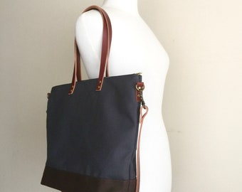 CARRIER CROSSBODY TOTE | Best for Diaper Bag, Laptop, Travel | Wax Canvas and Leather | Zipper| 4 Pockets | Charcoal Grey