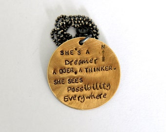 Inspiration Necklace, Hand Stamped Quote, #Makeforgood, Dreamer Necklace, Girlfriend Inspiration, Gift For Women