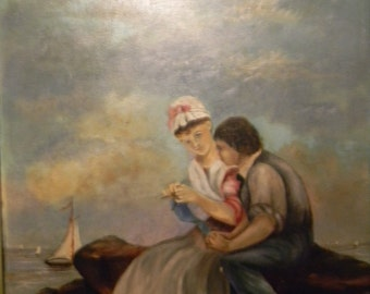 Vintage Oil Painting . Young Couple by the Sea