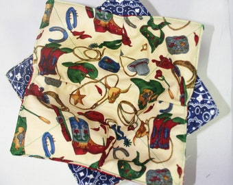 Keep your fingers either warn or cool with my Bowl Cozy in Country cowboy with blue bandana
