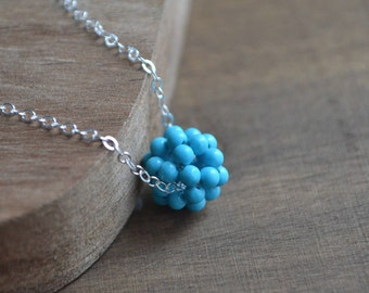 Turquoise Beaded Ball Necklace in Silver, Turquoise Necklace, Beadwork Necklace, Gift for Her, Single Bead Necklace, Collier