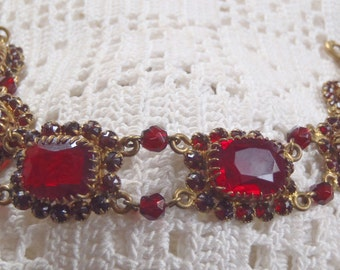 Vintage Bracelet Red Glass Stones Czechoslovakia