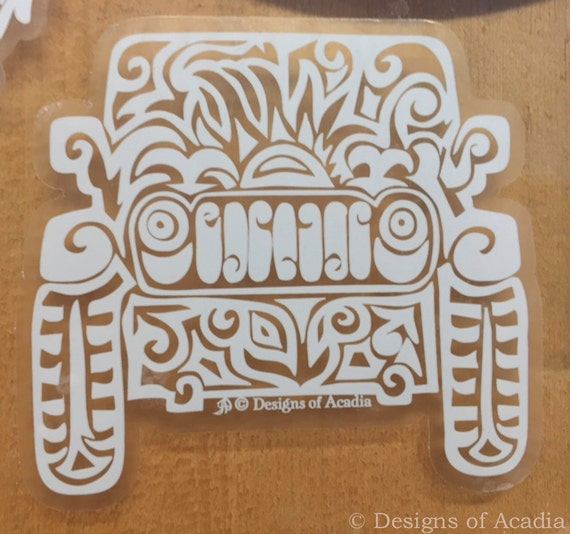 sticker jeep tribal tattoo white with clear. Black Bedroom Furniture Sets. Home Design Ideas