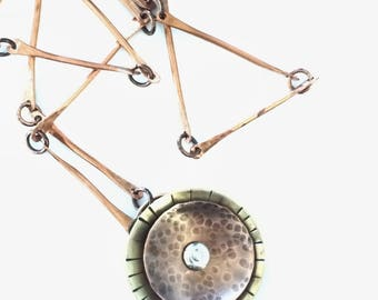 Copper necklace, copper jewelry, brass jewelry, long necklace, handmade chain, circle necklace, made in Santa Fe, metal jewelry