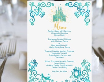 Watercolor Castle Table Menus Order Only What You Need | Table Menu Cards | Aqua & Gold