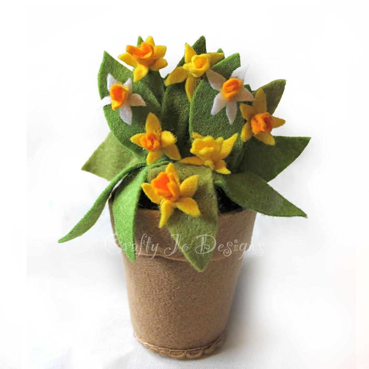 Felt daffodil pot spring wedding flower pot felt ornament zoom mightylinksfo