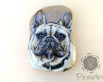 French bulldog stone portrait, pets portrait hand painted, painted dog rock, pet portrait gift, memory pet portrait, custom pet portrait