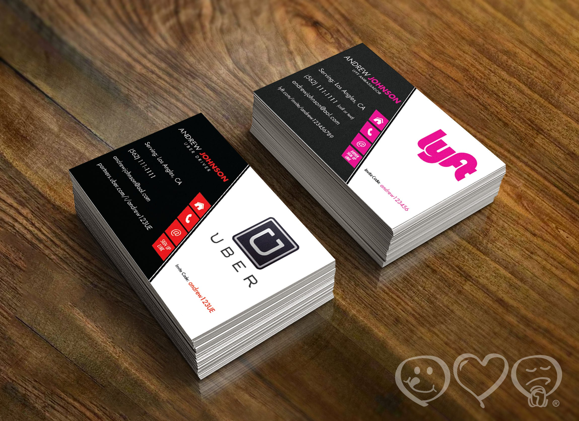 Double Sided Uber and Lyft Business card Uber Front Lyft