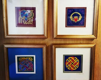 embroidery,pictures,framed,celtic,designs,ireland,gold,valentines