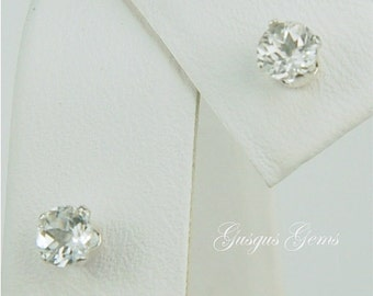 White Topaz Stud Earrings Sterling Silver 4mm Round .50ctw