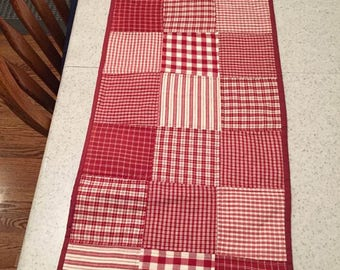 Red and White Country Table Runner