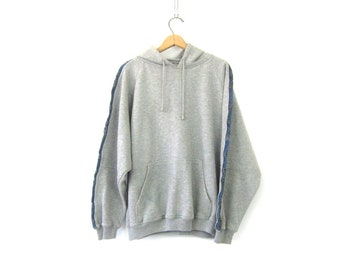 Gray Hoodie sweatshirt Oversized Hooded Sweater Top ATHLETICS Denim Trim Sweatshirt Jumper Drawstring Hood Shirt COED Size XL