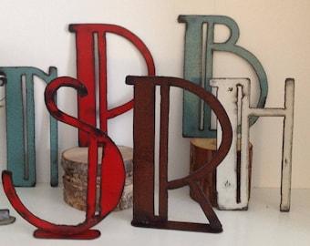 """Metal Letters, Vintage letters, art deco font, distressed letters, 8"""", 10"""", Metal art, Decorative Letters"""
