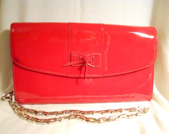 Vintage faux patent leather crossbody / clutch