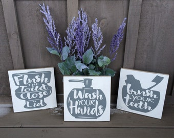 Bathroom Rules Sign - Set of Three // wash your hands // brush your teeth // flush the toilet // bathroom sign // bathroom decor