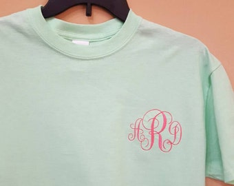 Short-sleeve Machine Monogrammed Tee, initial shirt, personalized shirt, custom tee, fancy monogram tee. Many colors to choose from.