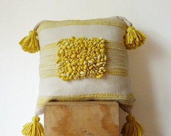 Pompom cushion cover, Boho bedding throw pillow, Yellow Modern wool art loomed by hand