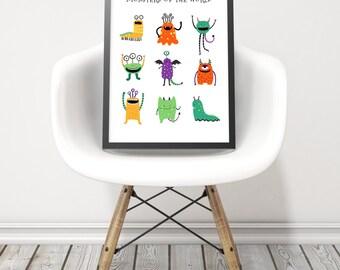 Monsters art print - Kids wall art - Children room art - Printable monster print - Monster print - Child room wall art - Digital prints