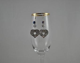 Heart earrings, Lazer Lace earrings, Elegant earrings, Blue earrings, Silver earrings, Dangle earrings, Silver jewelry