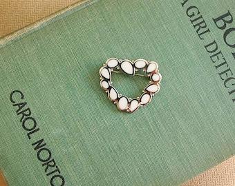 SALE:  Vintage Trifari White Enamel Heart Brooch Pin Silver Tone