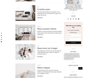"Blogger Template - Responsive Blog Design - Customizable Blogger Theme - Clean, Minimal - ""Jemma"" - premade blog theme - slider - drop down"