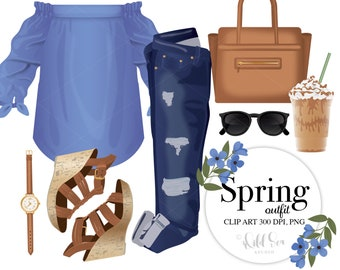 Spring Outfit Clip Art Set