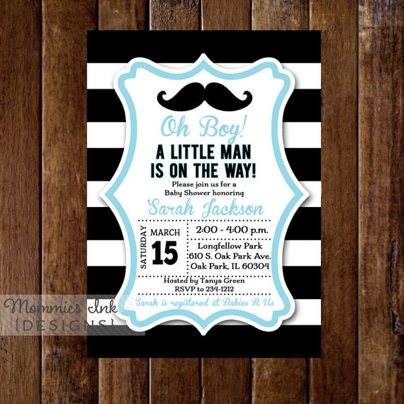 Black and white rugby stripe mustache baby shower invitation like this item filmwisefo Images