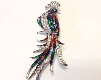 Vintage bird of paradise rhinestone enamel brooch pin. Free ship to US