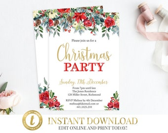 INSTANT DOWNLOAD Christmas Party Invitation, Christmas Invitation, Printable Invitation, Holiday Party, Christmas Holiday Invitation