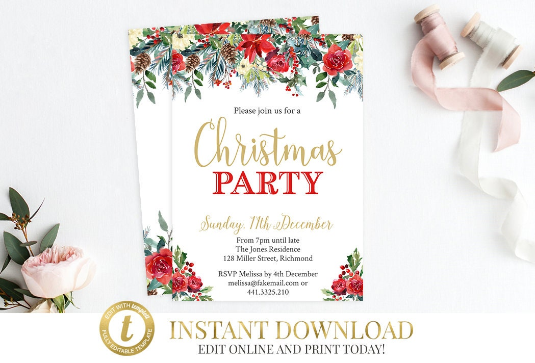 INSTANT DOWNLOAD Christmas Party Invitation, Christmas Invitation ...