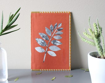 Original Paper Collage on Book Cover - Plant Leaf - Ready to Hang