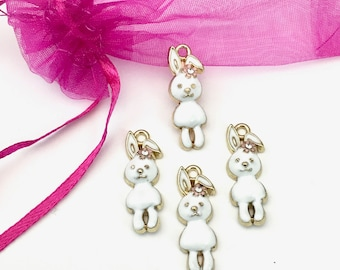 4 rabbit charms white enamel  and gold/ 9mm x 26mm #CH 641