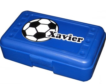 BACK TO SCHOOL - Personalized Pencil Box / Art Supply Box - Soccer