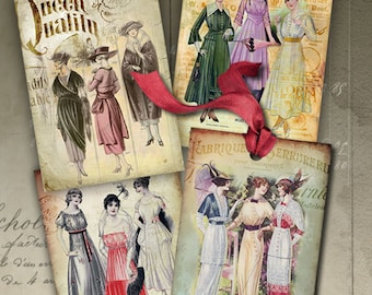 Printable download VINTAGE FASHION Gift TAGS Digital Collage Sheet 2.5x3.5 inch size Vintage Images Paper Craft Jewelry holders Art Cult