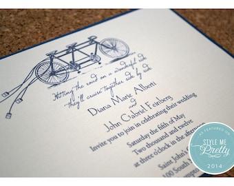 Tandem Bike Wedding Invitations - Bike Built for Two Wedding Invite - Whimsical Wedding Invitation - Wedding Invitation Deposit
