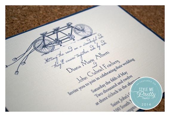 Tandem Bike Wedding Invitations: Tandem Bike Wedding Invitations Bike Built For Two Wedding