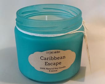 """Natural Soy Scented Candle in """"Sea Glass"""" Treated Jar, Caribbean Escape, 8 ounce"""