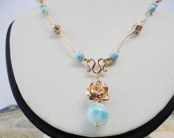 larimar necklace, larimar pendant, 14k gold filled necklace, larimar stone necklaces, Natural Beaded Layering jewelry, Boho, Gift for Her
