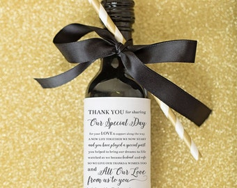 Mini Wine Bottle Label Wedding Favors \\ Thank You Poem