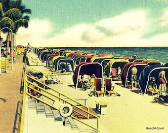 Beach decor bathroom, beach cabanas art, vintage beach artwork, vintage beach art print coastal art beach, colorful art vintage beach tents