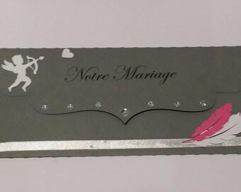 Lot de 25 pochettes avec faire-parts pour mariage / fiançailles / PACS  - Thème : Ange et plume. Personnalisable