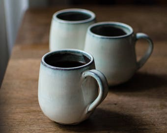 Cream White coffee cup//cup with handle//harmonious shape with white glaze//Ceramic cups pottered