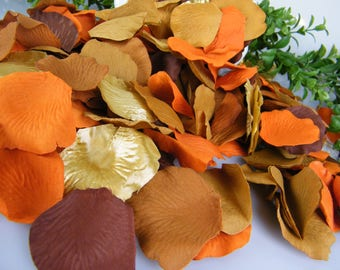 300 Rose Petals Fall Rose Petals Autumn Decoration / Fall Wedding Silk Flower Petals / Table Decoration Artificial / Brown Tones Gold Orange