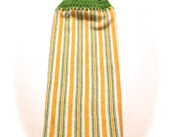 Striped Hand Towel With Grass Green Crocheted Top
