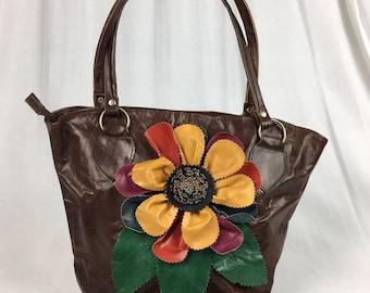 Handcrafted Leather Shoulder Bag Tote Purse Handbag Brown Flower